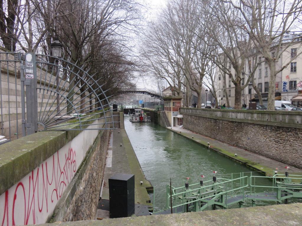 écluse sur le canal St-Martin
