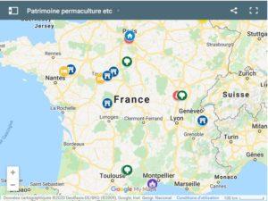 La carte interactive de Patrimoine Permaculture etc