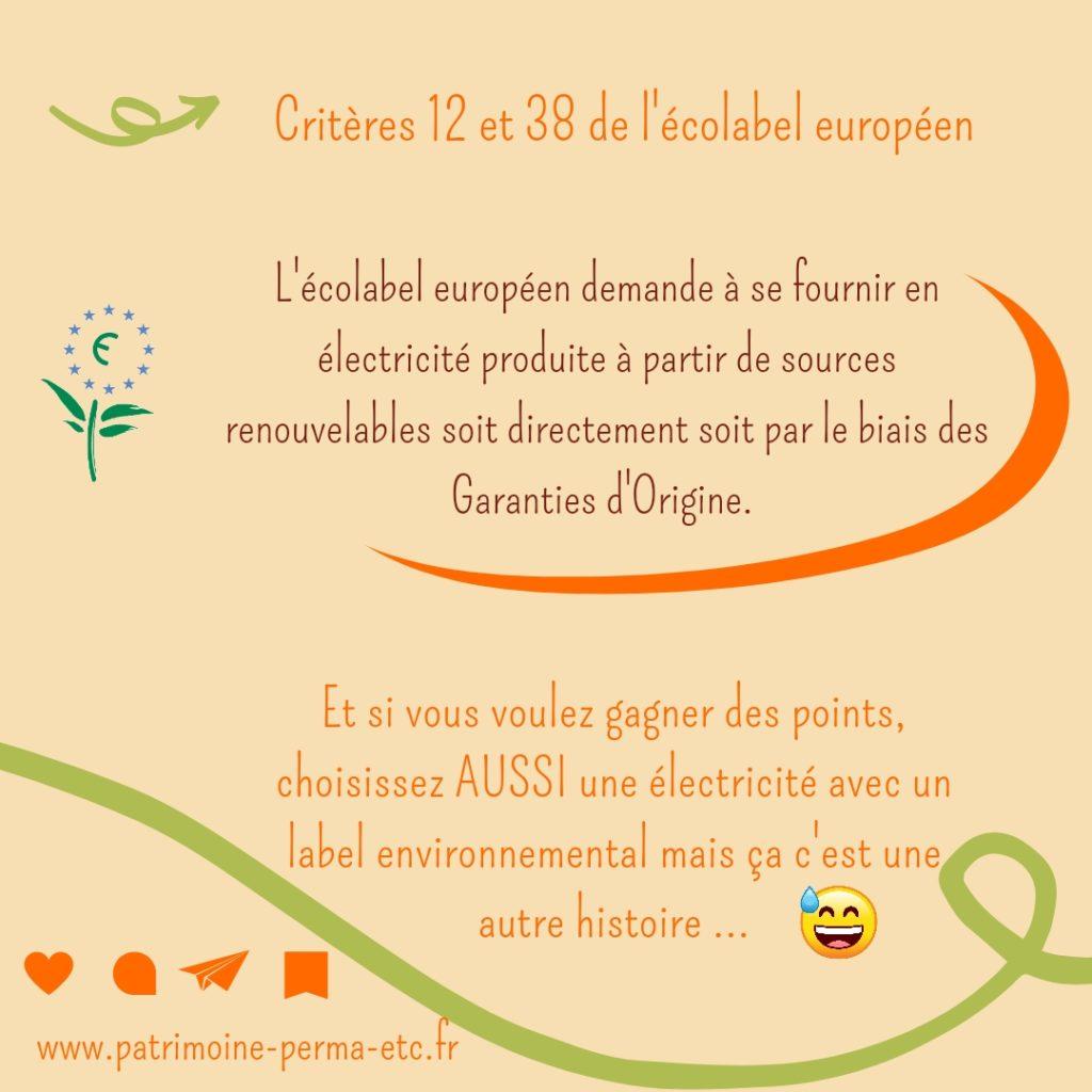 écolabel européen et électricité verte patrimoine permaculture etc